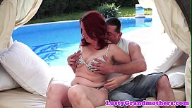 Seductive granny banged by the pool