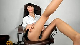 Stocking hot milf masturbate with monster toys in office