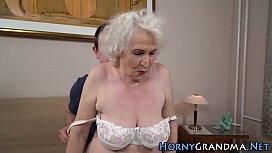 Old Grandma Facialized