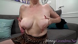 Busty blonde grandmother blows dick