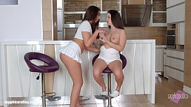 Morning drink lesbian scene with Angelina Brill and Carla Cruz by SapphiX