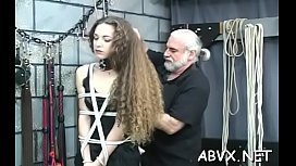 Youthful playgirl endures harsh treatment on her pussy and tits