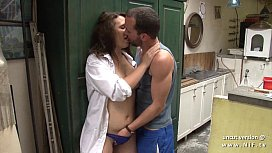 Naughty chubby french brunette fucked hard in the kitchen
