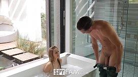 SpyFam Boyfriend watches Aubrey Sinclair fuck her step dad