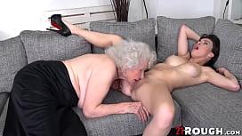 Tiffany Doll licks grannies pussy before hot fingering