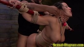Busty slave fucked