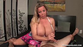 overBusty milf jerks off her messy stepson