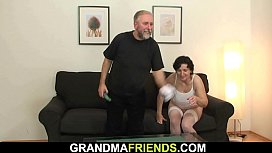 Hairy pussy old woman in white lingerie double penetration