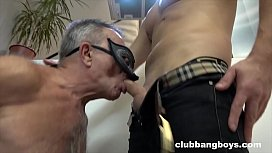 Old stepdad sucks his stepson'_s dick and gives best rimmjob