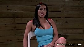Busty babe with tied wrists and breasts fucked