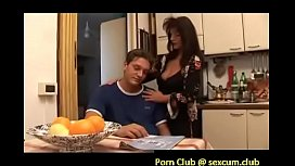 mom is comforting her sad son by giving him boobjob blowjob in the kitchen and letting him fuck her