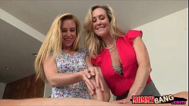 Huge jugs milf Brandi Love hot threesome on massage table