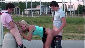 Extreme risky public street sex teen gang bang threesome orgy with a cute blonde