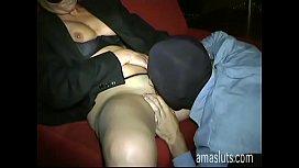 A masked man bangs a pretty mature slut