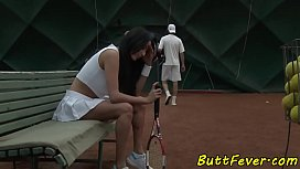 Cocksucking beauty ass banged after tennis