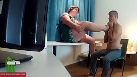 Playing with his cock and his ass on the desk. RAF099