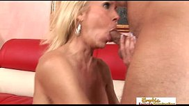Fit blonde cougar fucked by a guy from her gym