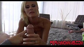 Skanky cougar rides dick and gives pov blowjob in hd