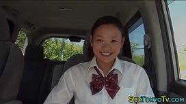 Japanese teen rides dick