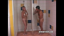 Old Slut In Steaming Shower Fuck With A Young Stud