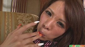 Teen Ema Kisaki gives a japanese blow job and creampied