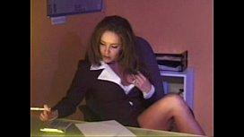 Envy Hot Brunette Secretary Masturbates and gets Anal Sex