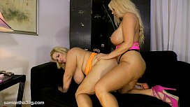 Busty Blonde Karen Fucks Fat Ass Samantha 38G with Strap On xnxx unblock
