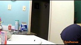 Big tits sister spied in bathroom