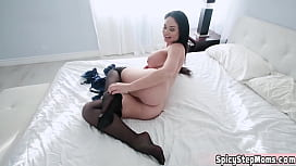 Stepmother Brooke just bought some new sexy stockings