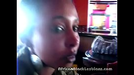 Slutty African hottie seduced at restaurant by sista in amateur scene