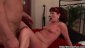 Red hot grandma Esmeralda gets her small tits covered in cum