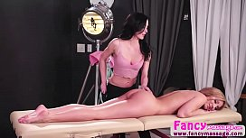 Lesbians Moka and Aiden fingering pussies in the massage parlor
