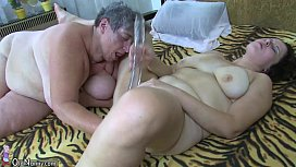 Old chubby mom teaches her chubby younger woman masturbating use dildo