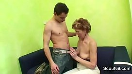 Granny with Hairy Pussy gets Fuck from Young Nephew and give Cumshot