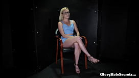 Sexy blonde babe eats cum in gloryhole