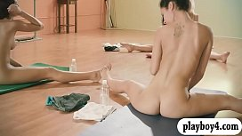 Sexy babes and trainer hot yoga session while theyre naked