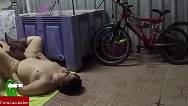 Eating and choking with fat pussy in the garage Homemade voyeur RAF