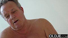 Young Girl Vs Old Man - Skinny Teen taking facial from fat grandpa
