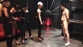 Mistresses Arabella Electra Islya and Noir kick Andrea Dipre in the balls