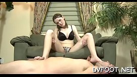 Hot sweetheart smothers a dude'_s face with feet and gives footjob