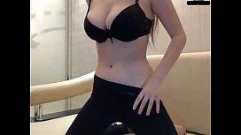 Sexy camgirl masturbates through black panties