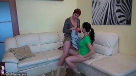 Old threesome with toys, young Girl, man and old chubby Granny