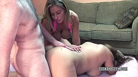 Mature sluts Leeanna and Angel are sharing a stiff cock