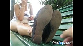 Latin Girl Shows Off Her Feet Outdoors