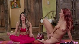 Veronica Rodriguez and Jayden Cole lick lesbian pussies after meditation