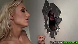 Gloryhole slut facialized