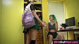 Hairy Aussie student fucked by lesbian classmates