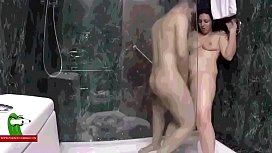 He eats with passion all her hairy pussy under the shower ADR0552