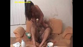 Brunette Feeding Chubby During Sex