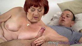 Chubby grandmas drips cum